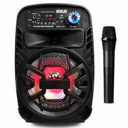 """8"""" Bluetooth Тонколона с вграден акумулатор, МП3 плейър от SD карта и флашка, Блутут и безжичен микрофон за караоке MÜHLER MAX 3"""