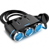 Разклонител за запалка Yantu B39-3, 3 гнезда, 2 USB, Бутони за изключване